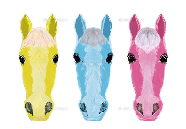 三頭の馬の顔イラスト の写真素材 イラスト素材 アマナイメージズ