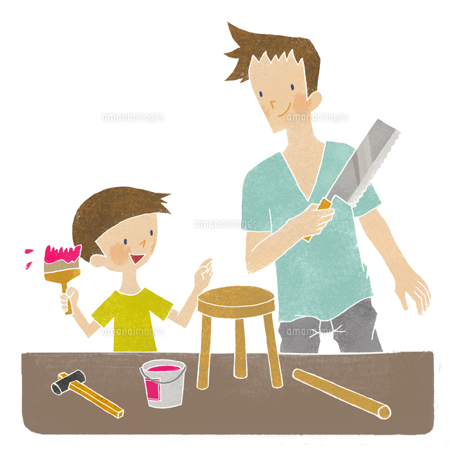 父と息子の日曜大工[02494000043]の写真素材・イラスト素材|アマナイメージズ