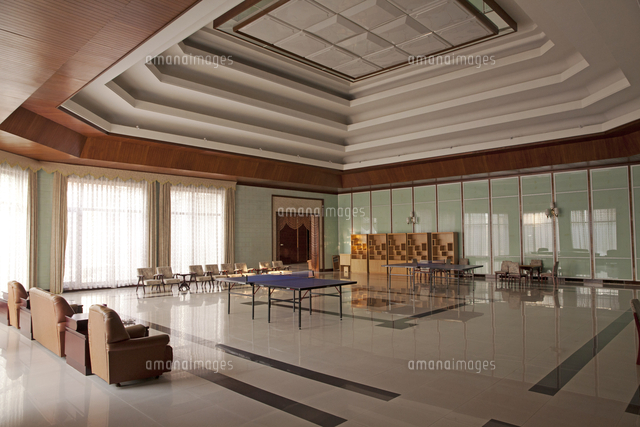 North Korea, Onchon. The games room at the Ryonggang Hot Spa Hotel.