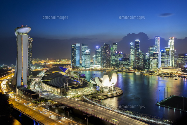 Singapore, Elevated view over the City Centre and Marina Bay from the Singapore Flyer, the largest Ferris wheel in the world 20088073187| 写真素材・ストックフォト・画像・イラスト素材|アマナイメージズ