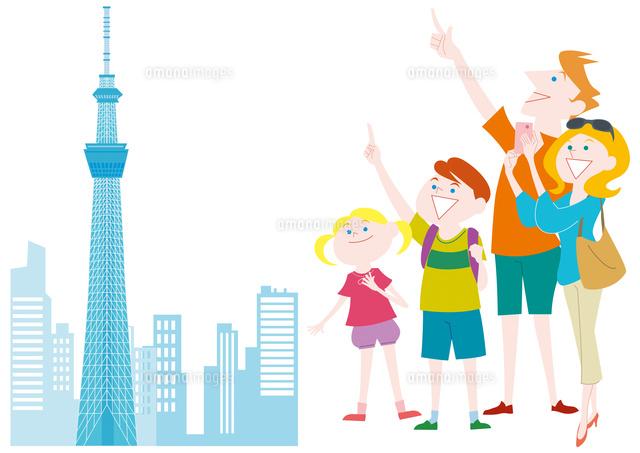 外国人家族の日本観光 東京スカイツリー の写真素材 イラスト素材 アマナイメージズ
