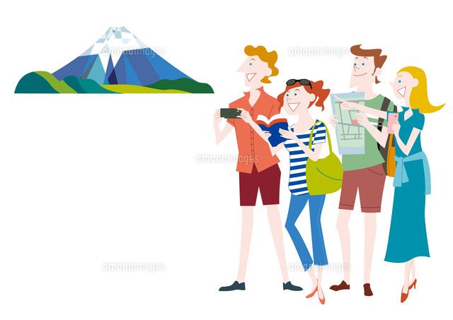 外国人観光客の日本観光 富士山 の写真素材 イラスト素材 アマナイメージズ