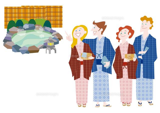 外国人観光客の日本観光 温泉旅行 の写真素材 イラスト素材 アマナイメージズ