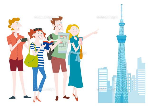 外国人観光客の日本観光 東京スカイツリー の写真素材 イラスト素材 アマナイメージズ