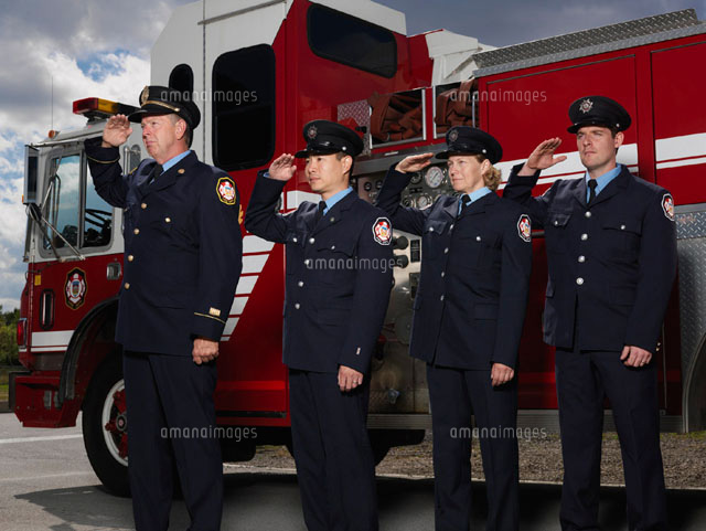 Firefighters by Fire Truck
