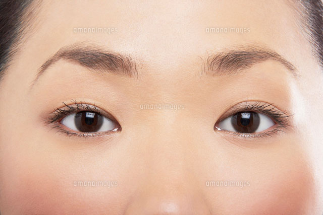 Young Asian womans eyes