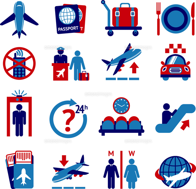 Airport travel button icons set with plane security check baggage control isolated vector illustration 60016003030| 写真素材・ストックフォト・画像・イラスト素材|アマナイメージズ