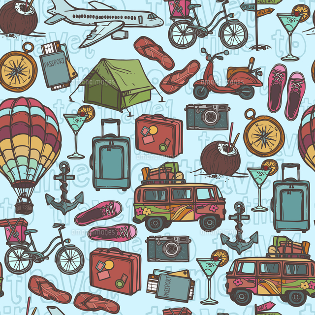 Travel holiday vacation sketch seamless pattern with tourism elements vector illustration 60016006669| 写真素材・ストックフォト・画像・イラスト素材|アマナイメージズ