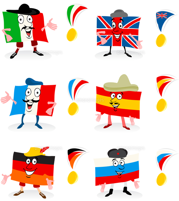 Flags and medals. Ridiculous tags of the European countries and a medal. A vector illustration 60016022341| 写真素材・ストックフォト・画像・イラスト素材|アマナイメージズ