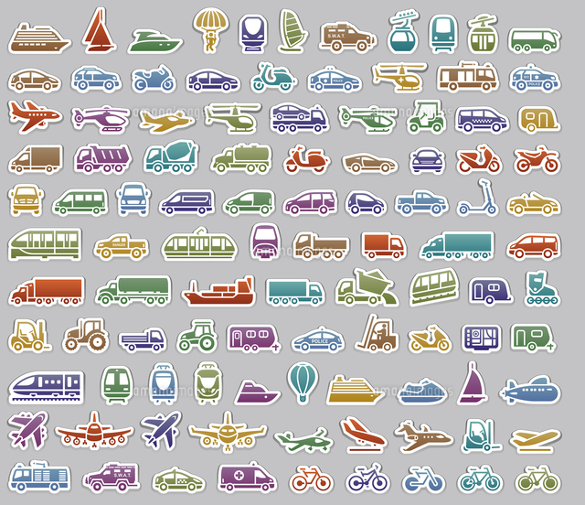 104 Transport icons set retro stickers, vector illustrations, color silhouettes isolated on gray background 60016037797| 写真素材・ストックフォト・画像・イラスト素材|アマナイメージズ