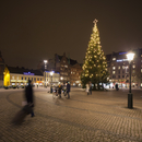 Sweden, Skane, Malmo, Stortorget, Town square at night