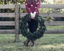 Low section of woman holding wreath while standing against wooden fence in backyard 11100049263| 写真素材・ストックフォト・画像・イラスト素材|アマナイメージズ