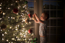 Side view of boy hanging bauble on illuminated Christmas Tree at home 11100094032| 写真素材・ストックフォト・画像・イラスト素材|アマナイメージズ