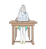 机に座り勉強する女性 10402000376  写真素材・ストックフォト・画像・イラスト素材 アマナイメージズ
