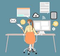 オフィスでデスクに座りパソコンを使って仕事をする女性 10402000402  写真素材・ストックフォト・画像・イラスト素材 アマナイメージズ