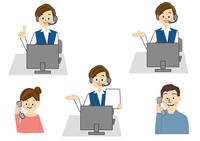 電話する男性・女性と案内する女性 10447000461  写真素材・ストックフォト・画像・イラスト素材 アマナイメージズ