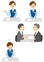 受付の女性と商談するビジネスマン 10447000462  写真素材・ストックフォト・画像・イラスト素材 アマナイメージズ