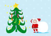 クリスマスツリーの靴下を見上げるサンタクロース 10467000032| 写真素材・ストックフォト・画像・イラスト素材|アマナイメージズ