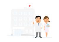 病院と医者と看護士 10467000628| 写真素材・ストックフォト・画像・イラスト素材|アマナイメージズ