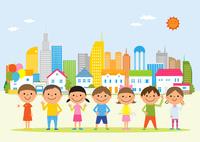 子供と街 10467001241| 写真素材・ストックフォト・画像・イラスト素材|アマナイメージズ