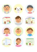家族と住宅 10467001474| 写真素材・ストックフォト・画像・イラスト素材|アマナイメージズ