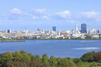 鳥屋野潟と新潟市街地 10467002042| 写真素材・ストックフォト・画像・イラスト素材|アマナイメージズ