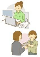 パソコンで作業する女性と名刺交換をする女性 10468000206  写真素材・ストックフォト・画像・イラスト素材 アマナイメージズ