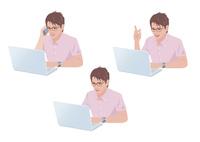 コンピューターで仕事をする男性 10688000015  写真素材・ストックフォト・画像・イラスト素材 アマナイメージズ