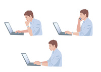 コンピューターで仕事をする男性 10688000018  写真素材・ストックフォト・画像・イラスト素材 アマナイメージズ