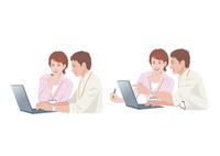 コンピューターで仕事をする男性と女性 10688000019  写真素材・ストックフォト・画像・イラスト素材 アマナイメージズ