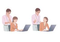コンピューターで仕事をする男性と女性 10688000020  写真素材・ストックフォト・画像・イラスト素材 アマナイメージズ