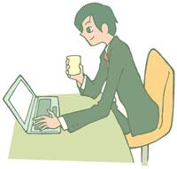 飲み物を飲みながらパソコンを見る男性 イラスト 11002026301  写真素材・ストックフォト・画像・イラスト素材 アマナイメージズ