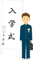 入学式でポーズをとる中学生男子 11002065672| 写真素材・ストックフォト・画像・イラスト素材|アマナイメージズ