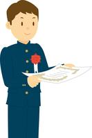 卒業証書を受け取る中学生男子 11002065679| 写真素材・ストックフォト・画像・イラスト素材|アマナイメージズ