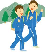 林間学校で山登りをする中学生男子 11002065681| 写真素材・ストックフォト・画像・イラスト素材|アマナイメージズ