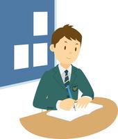 教室で勉強する高校生男子 11002065685| 写真素材・ストックフォト・画像・イラスト素材|アマナイメージズ