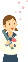 卒業証書を持つ中学生女子 11002066558| 写真素材・ストックフォト・画像・イラスト素材|アマナイメージズ
