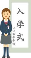 入学式でポーズをとる高校生女子 11002066560| 写真素材・ストックフォト・画像・イラスト素材|アマナイメージズ