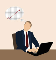 Businessman thinking of a line graph 11016015044  写真素材・ストックフォト・画像・イラスト素材 アマナイメージズ