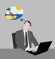 Man dreaming of being at the beach 11016015069  写真素材・ストックフォト・画像・イラスト素材 アマナイメージズ