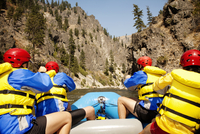 Man rafting in mountains