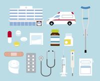 病院と病院モチーフセット 60000000220  写真素材・ストックフォト・画像・イラスト素材 アマナイメージズ