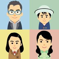 4人家族の集合イラスト 60008000289| 写真素材・ストックフォト・画像・イラスト素材|アマナイメージズ