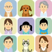 三世代家族とペットの集合イラスト 60008000298| 写真素材・ストックフォト・画像・イラスト素材|アマナイメージズ