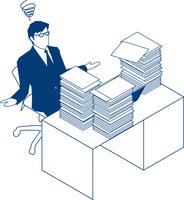 大量の書類を前にお手上げするビジネスマン 60009000187  写真素材・ストックフォト・画像・イラスト素材 アマナイメージズ