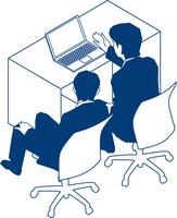 モニタを見る二人のビジネスマン 60009000189  写真素材・ストックフォト・画像・イラスト素材 アマナイメージズ