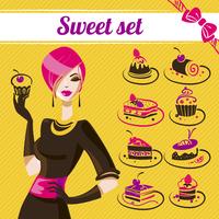 Sweet set, cakes icons  60016001277  写真素材・ストックフォト・画像・イラスト素材 アマナイメージズ