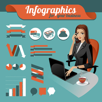 Business nfographics. Set of infographics elements and beauty business woman 60016001305  写真素材・ストックフォト・画像・イラスト素材 アマナイメージズ