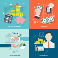 Bank service best investment payments world economy gold reserves flat icons set isolated vector illustration 60016001662  写真素材・ストックフォト・画像・イラスト素材 アマナイメージズ