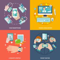 Digital health your smartphone online consultation healthy lifestyle pocket doctor icons flat set isolated vector illustration 60016001668  写真素材・ストックフォト・画像・イラスト素材 アマナイメージズ